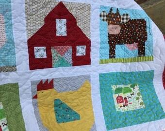 "CUSTOM ORDER: E-I-E-I-O, Farm Animal quilt, child's quilt, cow, pig, hen, barn, 44"" square"