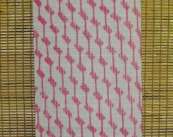 "FABRIC Vintage Japanese Cotton Kasuri Gauze Yukata Fabric from Unused Bolt Ikat Kasuri Pink White Summer Yukata Kimono Fabric 14"" W X 36"" L"