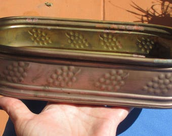 Vintage Brass Grape Pattern Oval Shaped Planter Patina Surface Rust