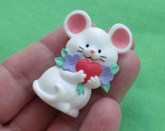 Retro Mouse Heart Valentine's Day Plastic Brooch Marked Current Inc Made In China