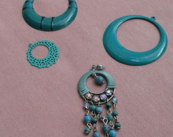 Lot Of Salvaged Turquoise Colored Hoops Beaded AB Rhinestone Pendant