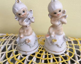Vintage Ceramic Cherubs Music Playing Figurine Tea Ringing Bells