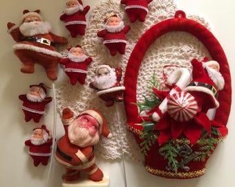 Lot (5) Vintage Kitschmas Flocked Santa decorations