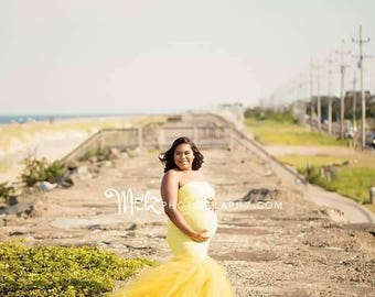 MELINDA Maternity Dress for Photo Shoot/Maternity Gown/ Bandeau tube Top neckline/ FITTED/ tulle mermaid  /