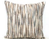 Grey Pillow - Grey and Beige Pillow, Gray Pillow Beige Ikat Pillow Striped Pillow Beige Pillow Grey and Cream Cushion Cover 18x18 18 x 18