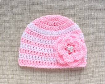 Newborn girl gift Crochet baby girl hat with flower Newborn hat Girl newborn baby hats for girls Newborn beanie hat Newborn girl hat