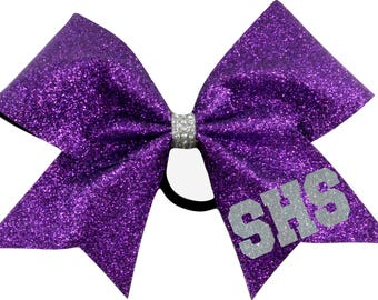 High School Initials Glitter Cheer Bow You Choose Color