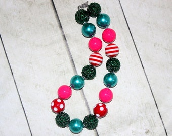 Christmas chunky bead necklace. Bubblegum beaded teal red green necklace. Poinsettia necklace. Holiday flower girl pearl rhinestone