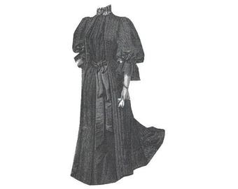 AG2121 - 1894 Black Crepon Mourning Tea Gown Pattern by Ageless Patterns