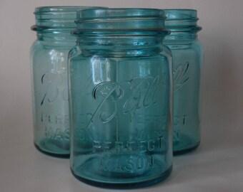One Mason jar antique blue ball jar pint size jars vintage canning jars Ball Perfect Mason 1900s Ball blue canning jar blue pint canning jar