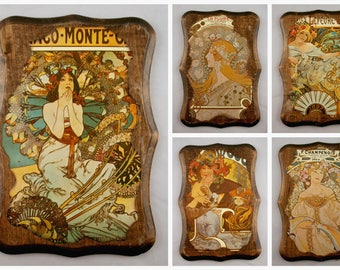 Alphonse Mucha Wood Plaques, Art Nouveau Wood Plaques, Set of 5, La Plume, Monaco Monte Carlo, F. Champenois, Biscuits Lefevre Utile, Bieres