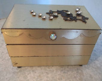 Brass Jewelry Box Accordion Style with Rhinestones/Mid Century Modern