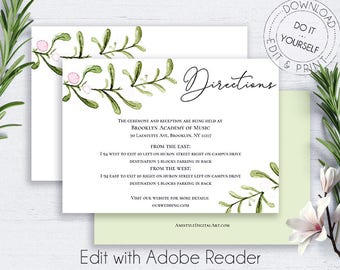 Wedding directions etsy greenery wedding directions card details card wedding details card template directions wedding stopboris Choice Image