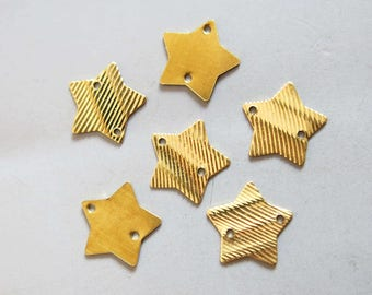 50pcs Raw Brass Star Charms, Pendants 15mm - F823