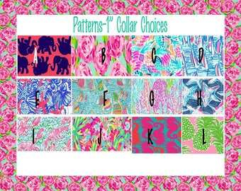 Lilly Pulitzer Inspired Dog Collars-YOU PICK DESIGN and Webbing