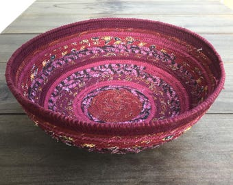 Burgundy Wine colored Fabric Bowl and Free Shipping