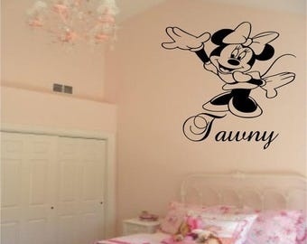 EVERYTHING IS 20% OFF Minnie Mouse Wall Decal Personalised with Name