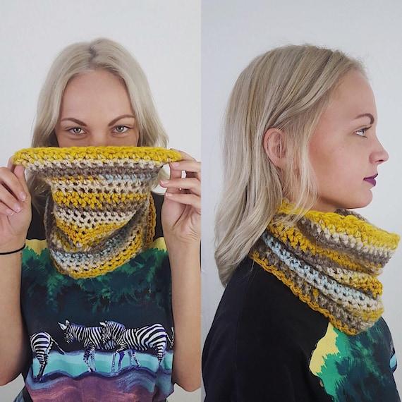 Handknit Handmade Yellow Cream Blue Gray Circle Scarf - Boho Hipster Art Fashion Womens Accessory - Soft Warm Fall Upcycled Yarn Cowl Scarf