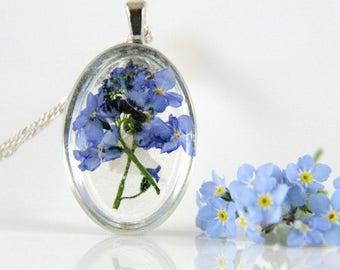 Flower Necklace, Resin Flower, Necklace, Resin Flower Jewelry, Resin Jewelry, Forget Me Not Jewelry, Terrarium Necklace,Real Flower Necklace