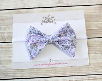 Floral Bow Headband, Lavender and Gray Headband, Nylon Headband, Baby Girl Headband, Baby Bow, Baby Girl Hair Bow, Floral Headband, Newborn