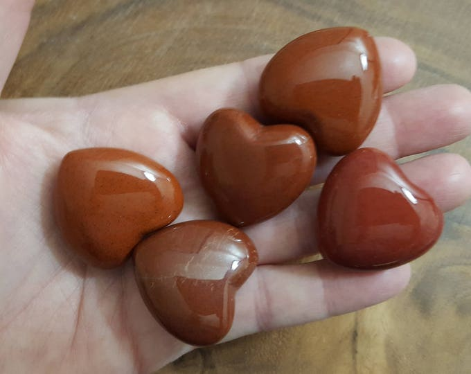 Red Jasper Heart ~ One 30mm Reiki Infused Heart