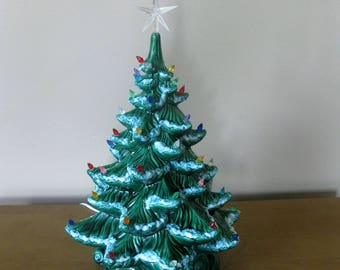 """Vintage LARGE  19"""" ceramic lighted Christmas tree- Authentic- 1970s -Atlantic mold -table top tree- with star -retro Christmas"""