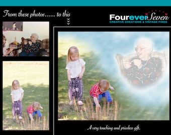 Photo Editing Add A Deceased Loved One Photo Retouching Custom Photo Wedding Baby Pet Memorial Remembrance Gifts Passed Away Watching Over