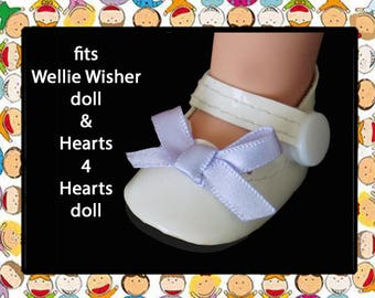 Vintage 2-1/8 inch x 1-1/8 inch White Mary Jane Doll Shoes / Disney My First Princess Toddler doll/American Girl Wellie Wisher