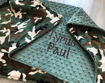 Camo double sided Minky Baby Blanket, SALE!