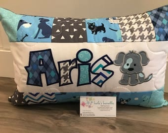 Puppy pillow, blue and grey, personalized throw pillow case, 12x18 inches