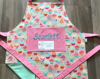 Kids Cupcake reversible personalized apron