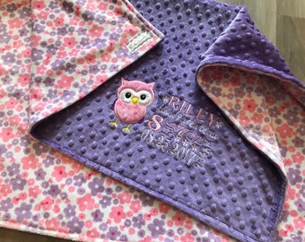 Lilac sweet posy, Pink and purple flowers Double sided Minky Baby Blanket, SALE!