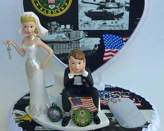 Wedding Cake Topper U.S. Army Themed Ball and Chain Military Enlisted Troops Humorous Funny Dog Tag Flag Key w/ Bridal Garter Shower Gift