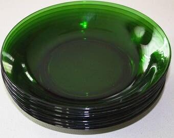 Vintage VERECO France EMERALD Green 8 Inch SOUP Bowls - Set of 6