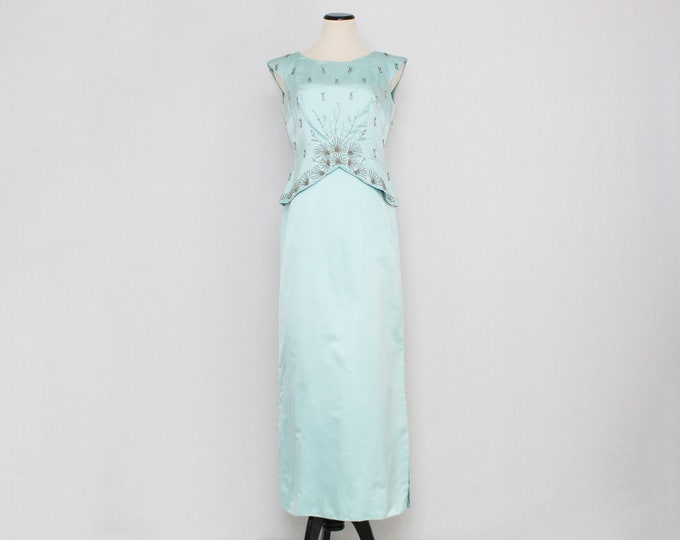 Turquoise Beaded Cocktail Dress - Size Medium Vintage 1950s Union Label Party Gown