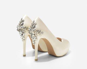 Precious Jewels Beaded Ivory Peep Toe Platform Pump, Ivory Wedding Shoes, White Bridal Shoes, Custom Made Wedding Shoes, Bespoke Dress Shoes