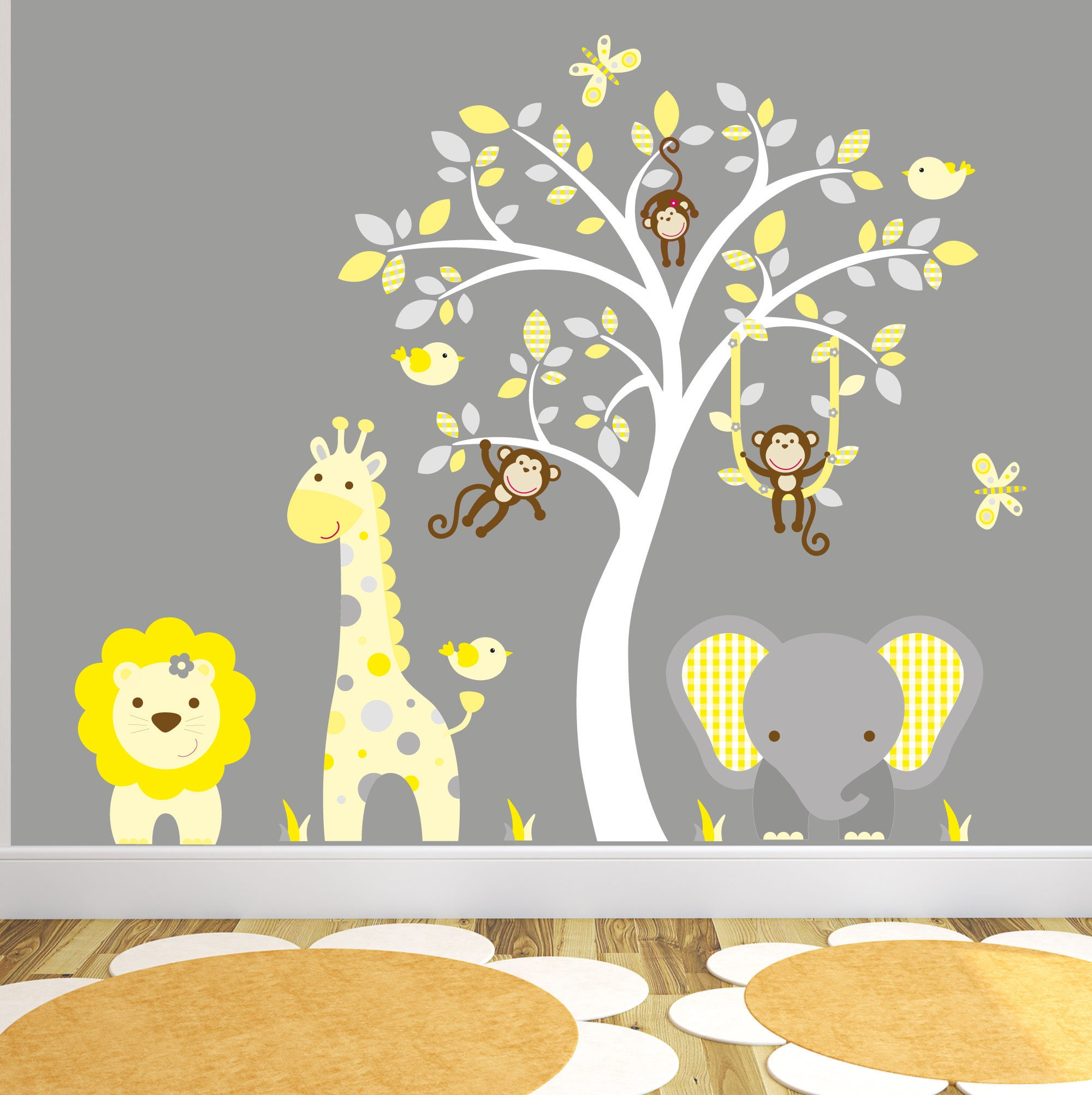 Jungle Decal Yellow And Grey Nursery Decor Gender Neutral Baby