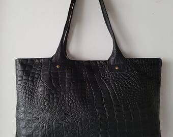 Genuine black leather tote bag,shopper,handbag,day bag,shoulder bag