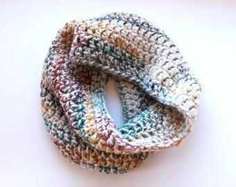 Rainbow infinity scarf, multicolor cowl scarf, rainbow crochet scarf, colorful wool scarf, variegated scarf, crochet scarf, knit scarf