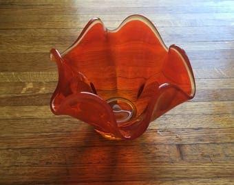 Free Shipping Art Glass Handkerchief Style Viking Glass Co. Footed Bowl Persimmon Orange Clear Edge Mid-Century Ruffle Handkerchief Style