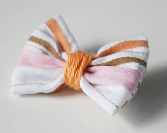 37 orange pink white striped bow brooch