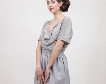 grey skirt with smocking in shades of gray khaki