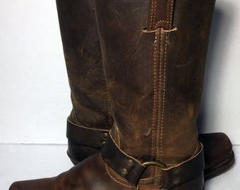 Frye 77300 Harness Brown Leather Riding Biking Motorcycle Boot 12r Women's Size 7.5
