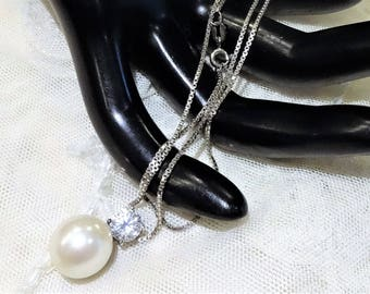 Vintage Carolee Sterling Silver Faux Pearl and CZ Pendant