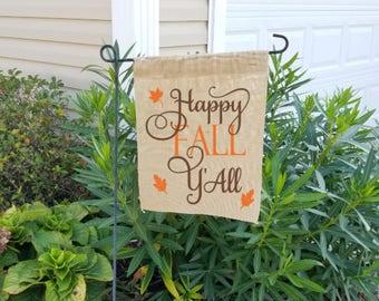 Happy fall yall, fall garden flag, burlap garden flag, fall, happy fall yall garden flag, garden flag, burlap fall flag, garden flag decor