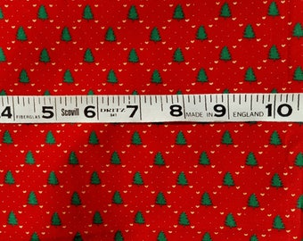 Vintage Noel's Red with Christmas Trees Fabric by the yard, Fat Quarter