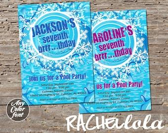 Winter Pool printable birthday party invitation, brrr thday snow swim party, children, teenager, teen, girl, boy, digital download template