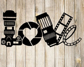 Camera Love Vinyl Decal | Photography Decal | Photographer | Film | Shutter | Heart | Custom Sticker | Car Decal | Laptop Decal | Business