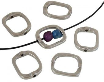 2 Jewelry Components, 28x24mm Closed Irregular Rings with 2 holes, Antique Silver