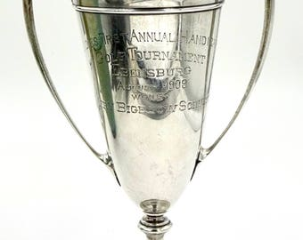 Antique STERLING LOVING CUP Golf Trophy Gorham Sterling Silver Ladies Golf Tournament Trophy Ebensburg August 1909